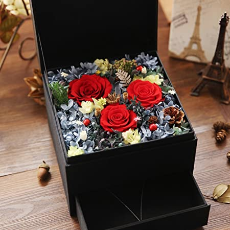 Importado caja de regalo de flor vivo Flores frescas rosas Día de san valentín regalo de cumpleaños-A: Amazon.es: Hogar