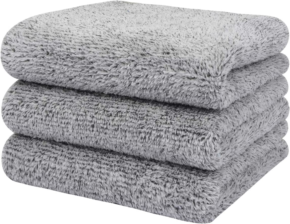 SINLAND Microfiber Hand Towel Bamboo Charcoal Towels 16Inch x 32Inch 3 Pack Light Grey