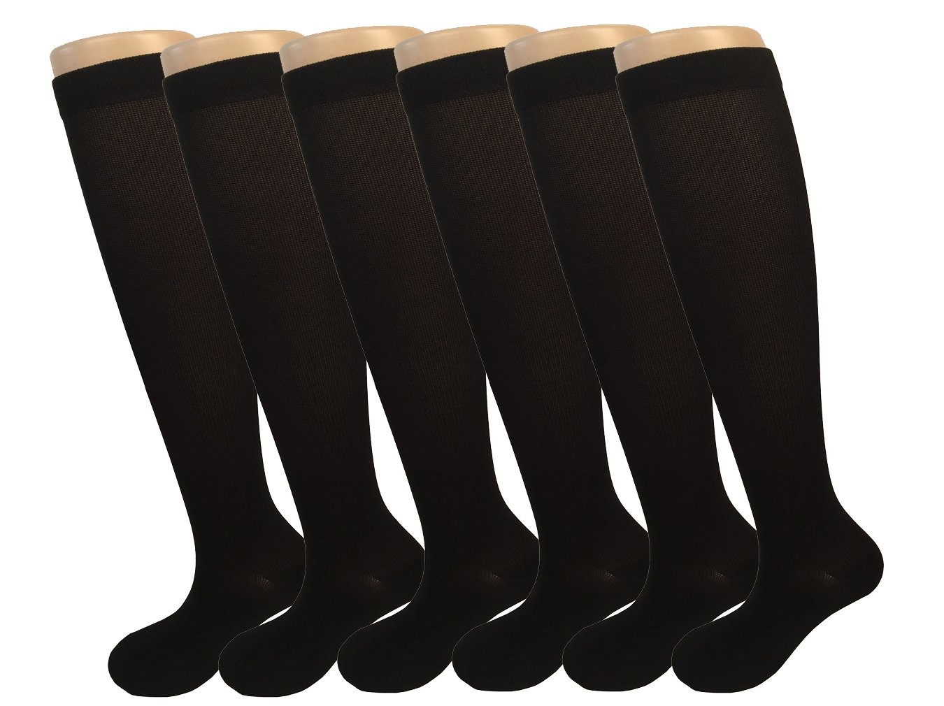 6 Pairs Graduated Compression Socks For Women Running Hiking Bike Travel Socks 8-15mmHg (black) -L/XL