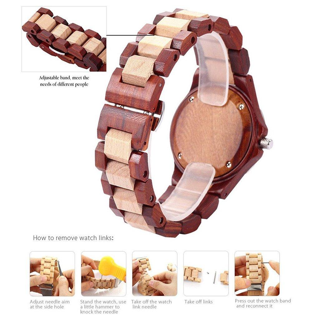 ac0cddef4928 Bewell relojes de madera con Calendarios impermeable cuarzo Sillas mesa  redonda Peso ligero Retro de Moda Reloj de madera de sándalo para hombre