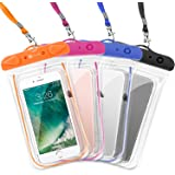 F-color Waterproof Case, 4 Pack Transparent PVC Waterproof Phone Pouch Dry Bag for Swimming, Boating, Fishing, Skiing, Rafting, Protect iPhone X 8 7 6S Plus SE, Galaxy S6 S7, LG G5 and More
