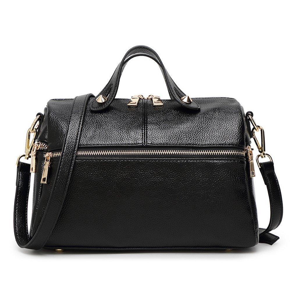 Mn&Sue Baguette Doctor Style Multi Zipper Medium Top Handle Pillow Boston Barrel Satchel Handbag for Lady (Black)