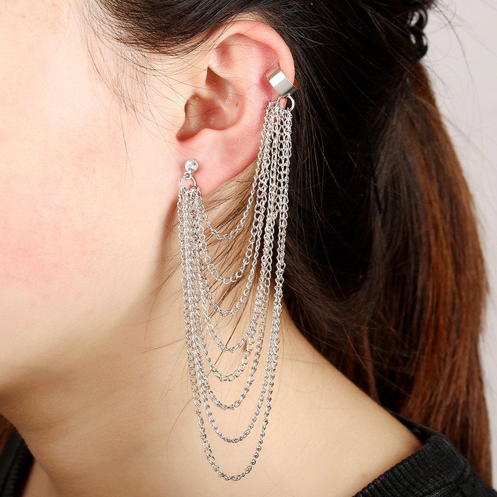 Extra Long Tassel Fringe Earrings Ear Crawler Earring for Men Women Clip On Stud Ear Climber Jacket 1pcs S/&Moon