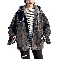 Gihuo Women's Oversized Loose Boyfriend Denim Jacket Hooded Jean Jacket