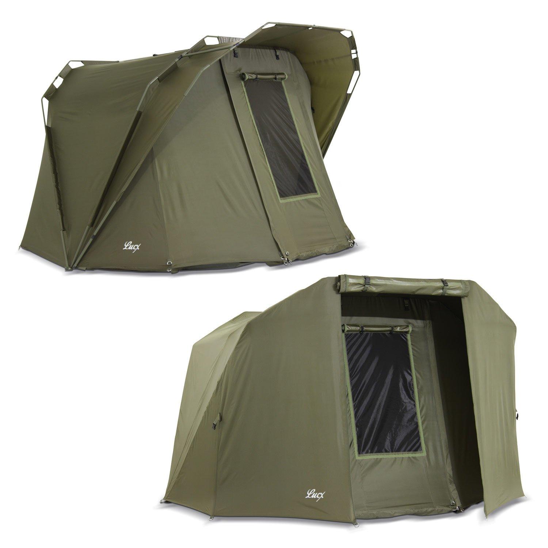 Lucx® Coon Bivvy + Winterskin / 1-2 Mann Angelzelt + Überwurf/Karpfenzelt + Overwrap/Zelt, 10.000mm Wassersäule, Campingzelt