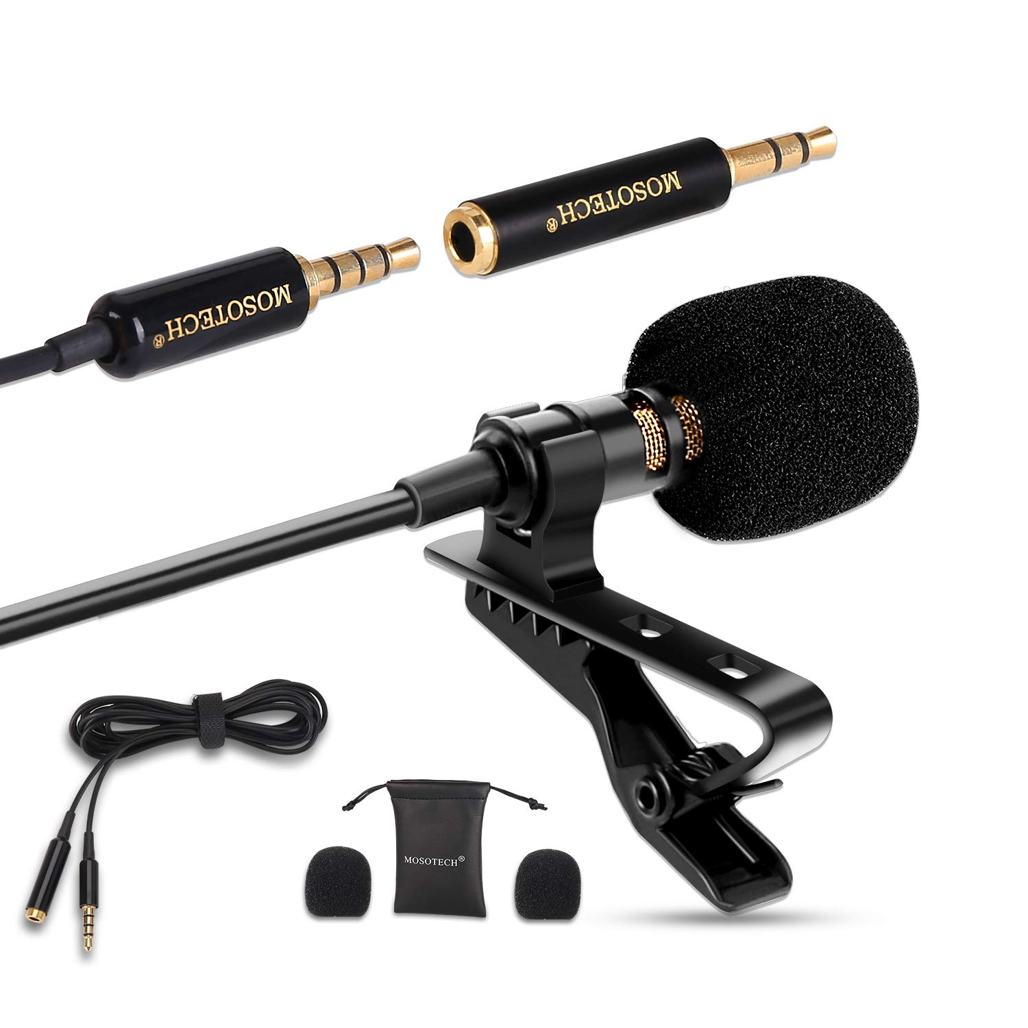 Lavalier Microphone, Omnidirectional Condenser Lavalier MIC for Recording YouTube Interview (Suitable for iPhone/Android/Windows/Camera) by MOSOTECH