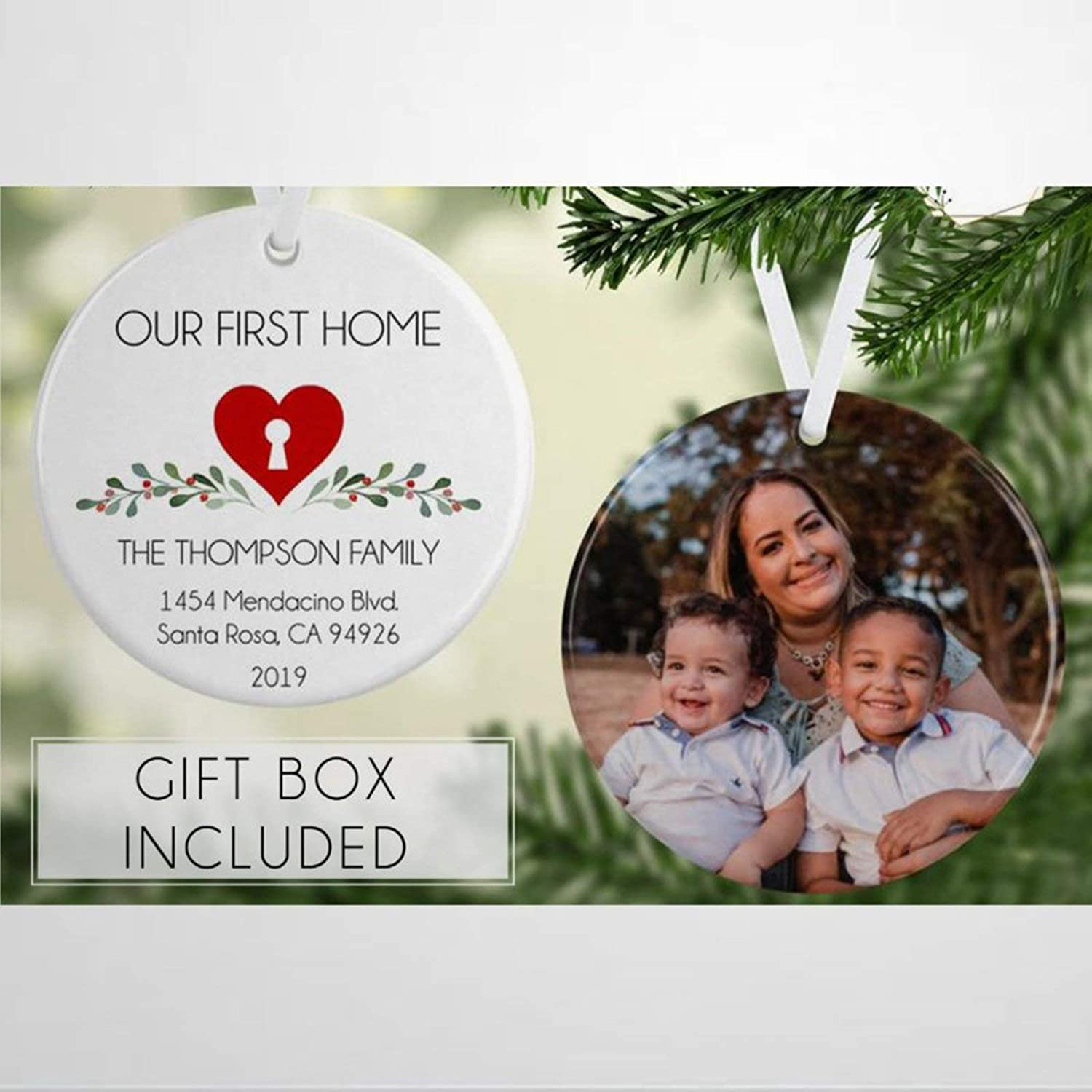DONL9BAUER Home is Where The Heart Our First Custom Christmas Ornament,in New Housewarming Realtor Closing Ceramic Tree Hanging Keepsake Ornament Present for Family,Friends,Couple &Engagement Party.