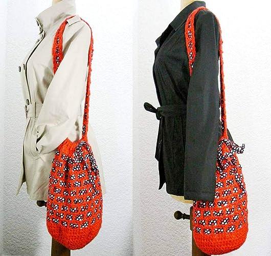 Bolsa Roja Ganchillo Original bolso mensajero Morral tira ...