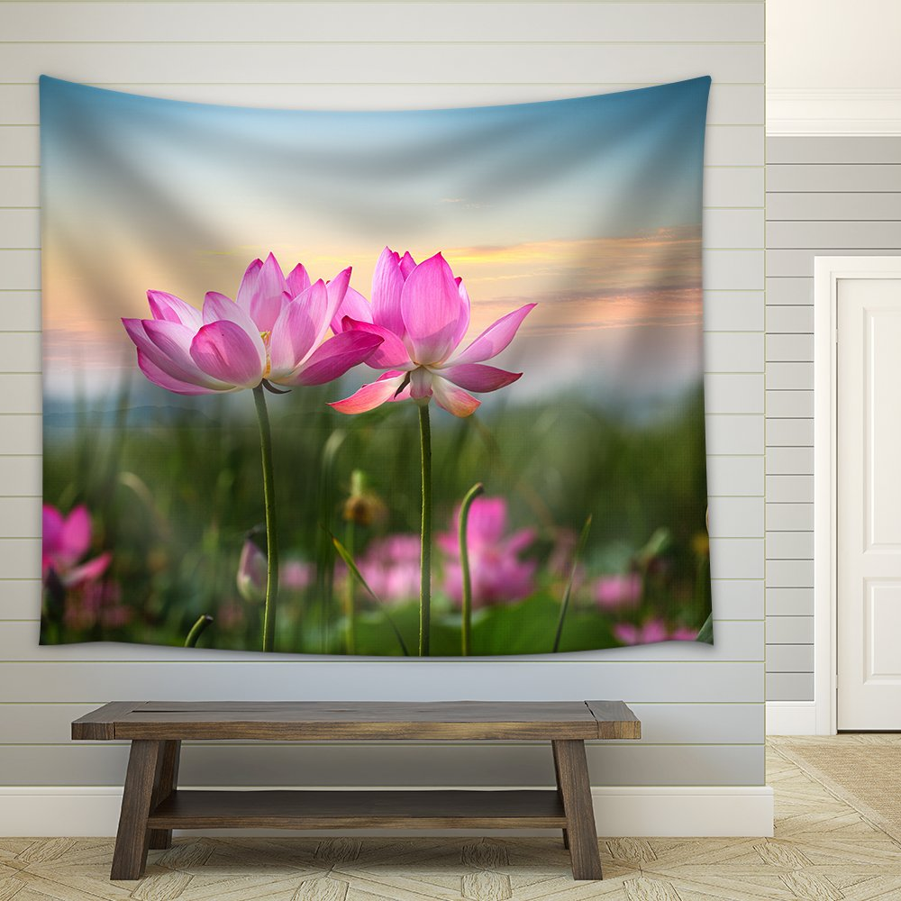 Beautiful Lotus Flower In Blooming At Sunset Fabric Wall Tapestry
