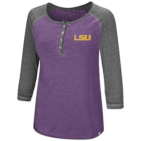 a13121e18a5bc1 Colosseum Womens LSU Louisiana State Tigers Henley 3 4 Long Sleeve Tee  Shirt - S