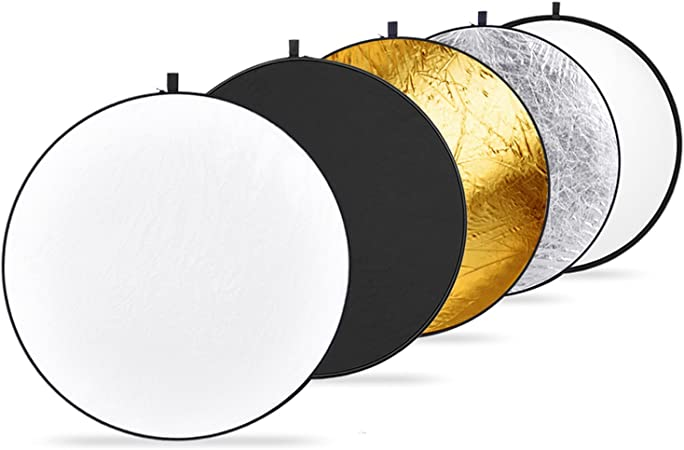Oferta amazon: Neewer 11,8pulgadas/30* 30centímetro portátil 5-in-1Reflector Kit, translúcido, Plateado, Dorado, Blanco, y Negro Multi Disc Luz