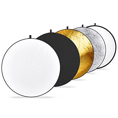 Neewer 32-Inch 80CM Portable 5 in 1 Translucent, Silver, Gold, White, and Black Collapsible Round Multi Disc Light Reflector