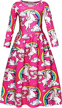 AmzBarley Little Girls Dresses Unicorn Rainbow Children Kids Birthday Party Halloween Cosplay Holiday Outfits 3-7 Years