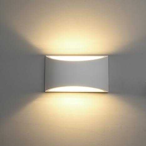 Lámpara de Pared de Cerámica DECKEY, Iluminación Decorativa en Yeso Luz de Pared LED Arriba Abajo, Efecto de Luz Interior para Dormitorio, Salón y ...
