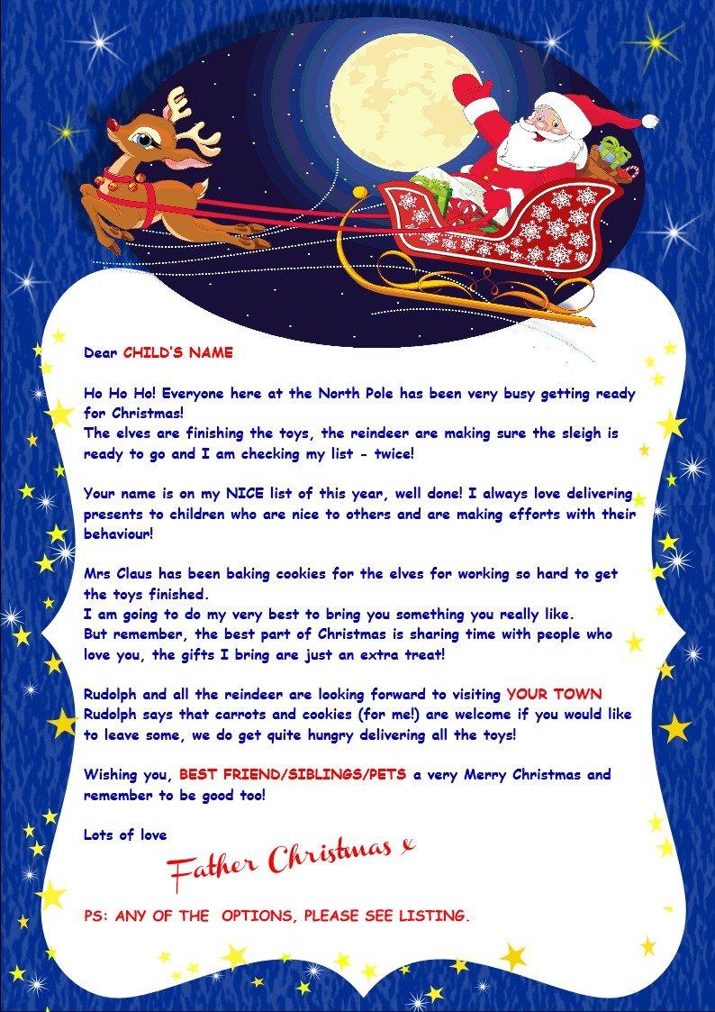Personalizado carta de Papá Noel + el buen comportamiento ...
