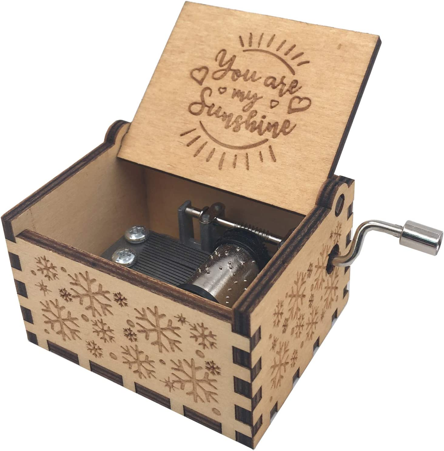 vizuzi You are My Sunshine Laser Engraved Birch Wood Christmas Song Music Box Birthday for Friends Girls Daughter Kids