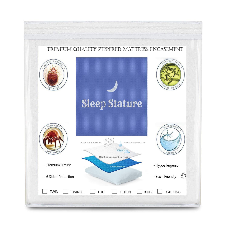 "Sleep Stature Mattress Protector, Mattress Dust Cover, Mattress Encasement, Waterproof, Zippered, Hypoallergenic, Anti Allergy, Mite & Bed Bug Proof, Premium Luxury, Cooling (Full = 54"" x 75"" + 12"")"
