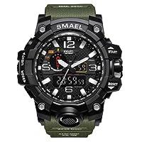 Reloj de Pulsera para Hombre de dial Doble Digital Reloj de Pulsera para Hombre de Negocios Militar Multifuncional Reloj analógico Resistente a Golpes S electrónico