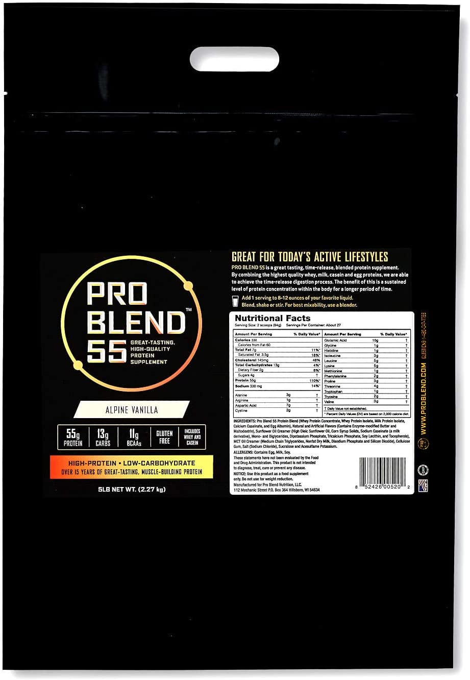 Pro Blend 55 Protein Powder Low Carb Gainer Meal Replacement Powder Whey, Casein, Egg Albumin Protein Alpine Vanilla 5 Pound