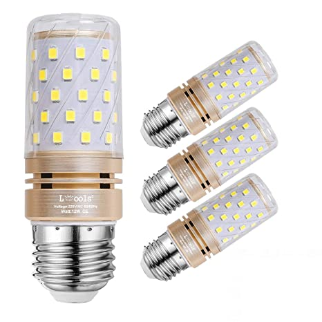 Leools E27 LED Corn Bulbs 12W, 100W Bombillas incandescentes Equivalente, 6000K Luz blanca Candelabra