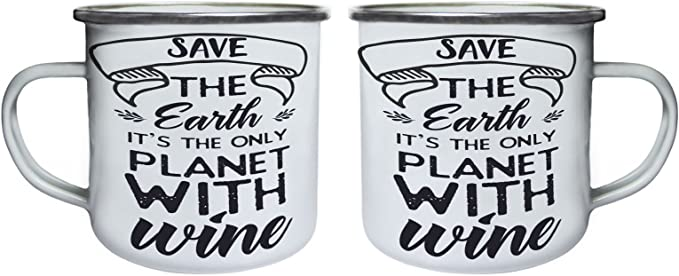Enamel 10oz Mug t706e Save The Earth It/'S The Only Planet With Wine Retro,Tin