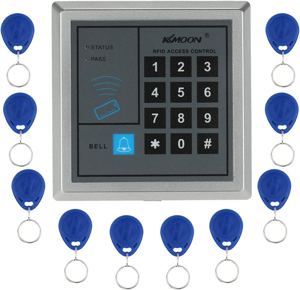 KKmoon Door Entry Access Control System,RFID Proximity,Access Control Kit,Home Security System,Access Controller + 10 Key Fobs (Style 1) IC Reader Control Card Readers Access Control Cards