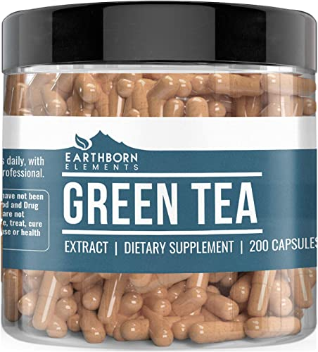 Green Tea Extract, 200 Capsules 400 MG per Serving by Earthborn Elements, Dietary Supplement for Weight Loss, Fast Metabolism, Increased Energy, Immune Boost, Heart Brain Health