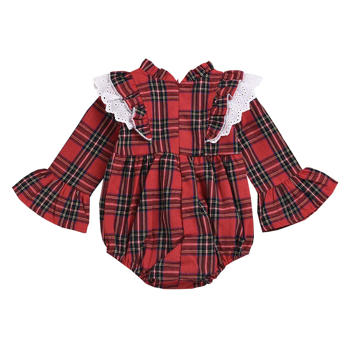 Fairy Baby Toddler Baby Girls Outfits Flare Sleeve Plaid Bodysuit Onesie Ruffle Lace Romper