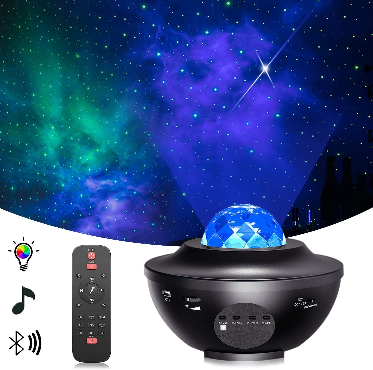 STARRY PROJECTOR LIGHT X7-Pro Star LED Galaxy Ocean Wave Projector Bluetooth Music Speaker for Baby Bedroom,Game Rooms,Party,Home Theatre,Night Light Ambiance, Black