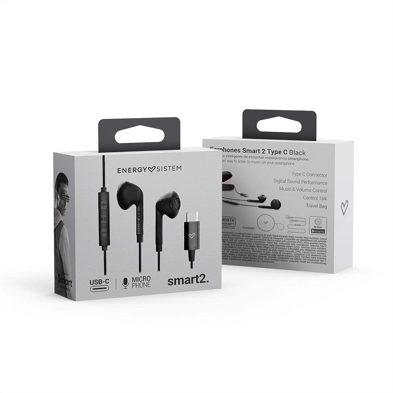 Energy Sistem Earphones Smart 2 Type C (Type C, Digital Sound, Music & Volume Control, Carrrying Case) Negro: Amazon.es: Electrónica