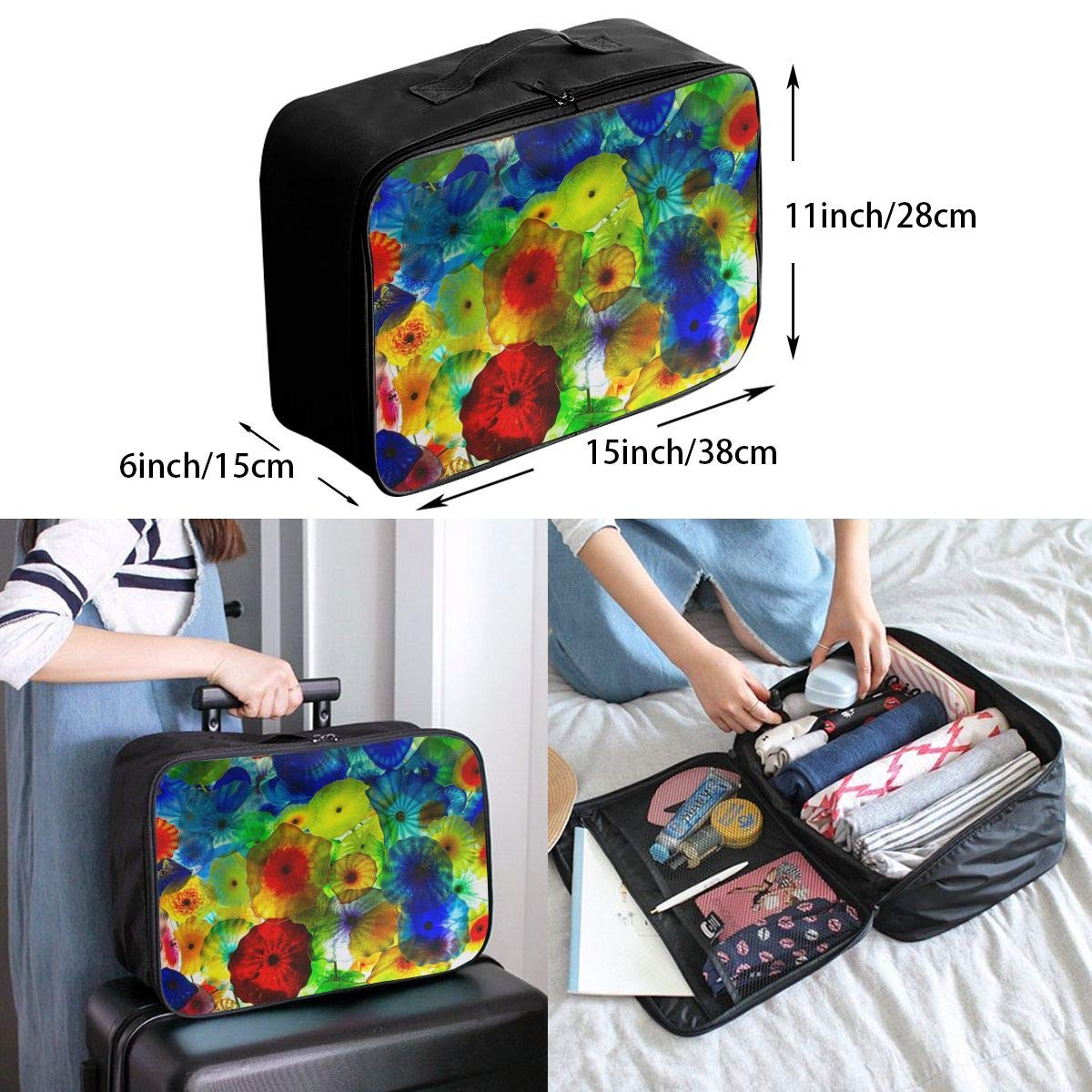 Women /& Men Foldable Travel Duffel Bag Vintage Colorful Under Sea Ocean Jellyfish For Luggage Gym Sports