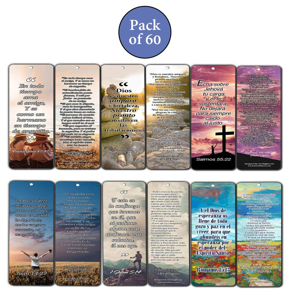 Spanish Bookmarks Cards (60-Pack)- Popular Inspirational Holy Scriptures - War Room Decor by NewEights (Image #2)