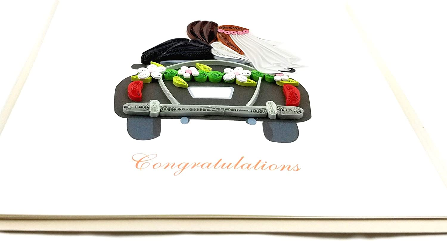6x6 with Envelope Blank Inside Suitable for Framing. Just MarriedCongratulations Quilling Greeting Card Hand-made