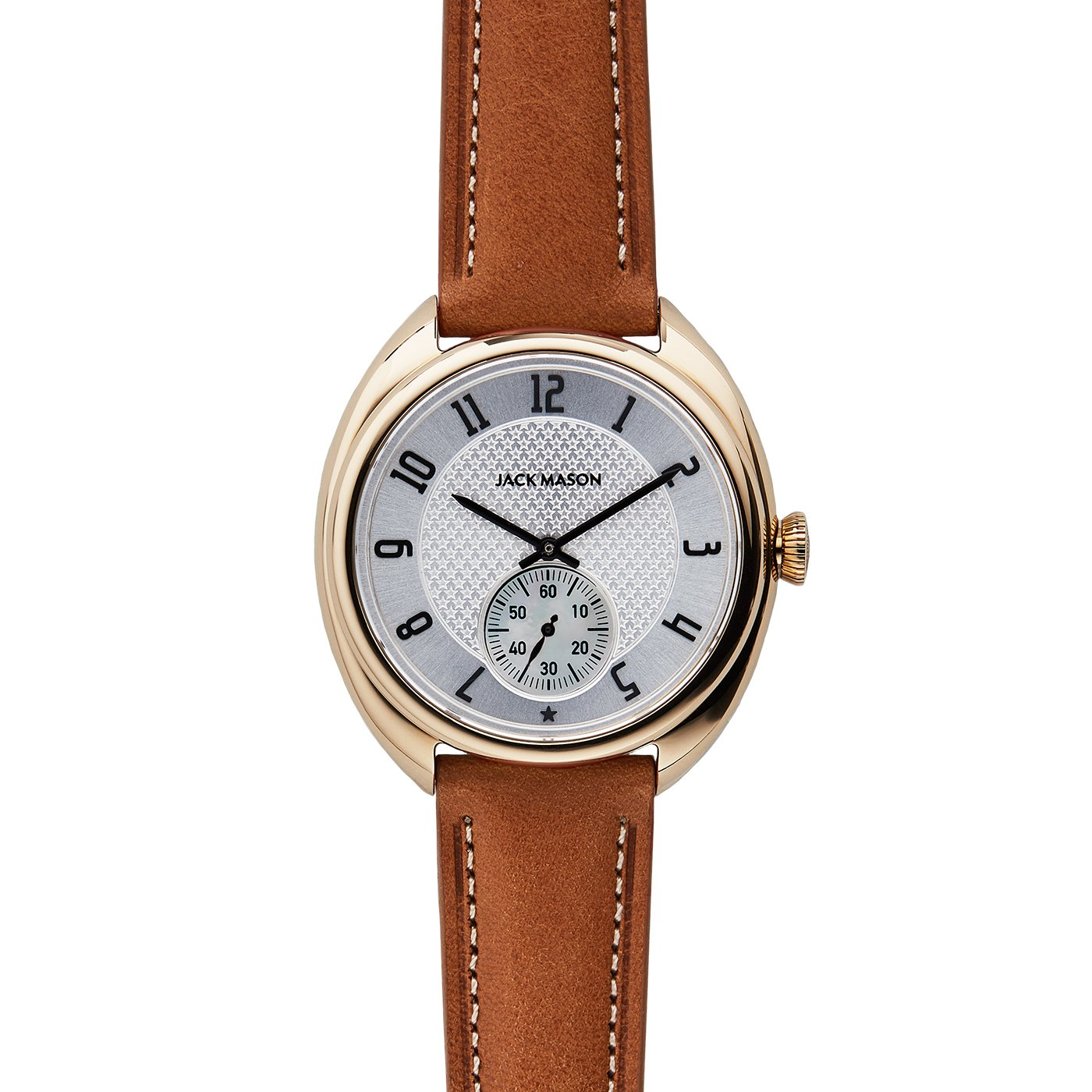 Jack Mason Issue No 1 Yellow Gold Sub Second White Dial Tan Leather Strap