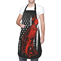 Granbey Bass Fishing Lure and American Flag Apron Patriotic Aprons Unisex Adjustable Shoulder Strap Polyester Aprons…