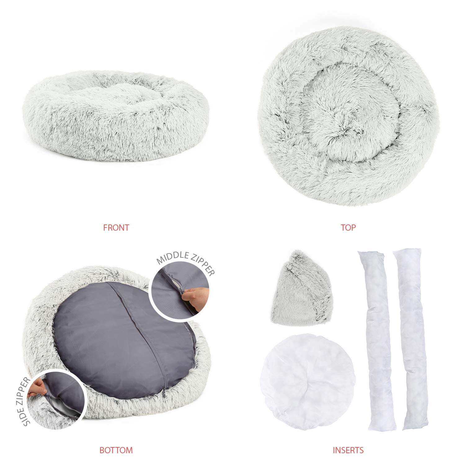 Best Friends by Sheri Luxury Shag Fur Donut Cuddler (30x30 Zippered, Frost) – Medium Round Dog & Cat Cushion Bed, Removable Shell, Warming, Cozy - Prime, Machine Washable - Medium Pets Up to 45lbs by Best Friends by Sheri (Image #3)