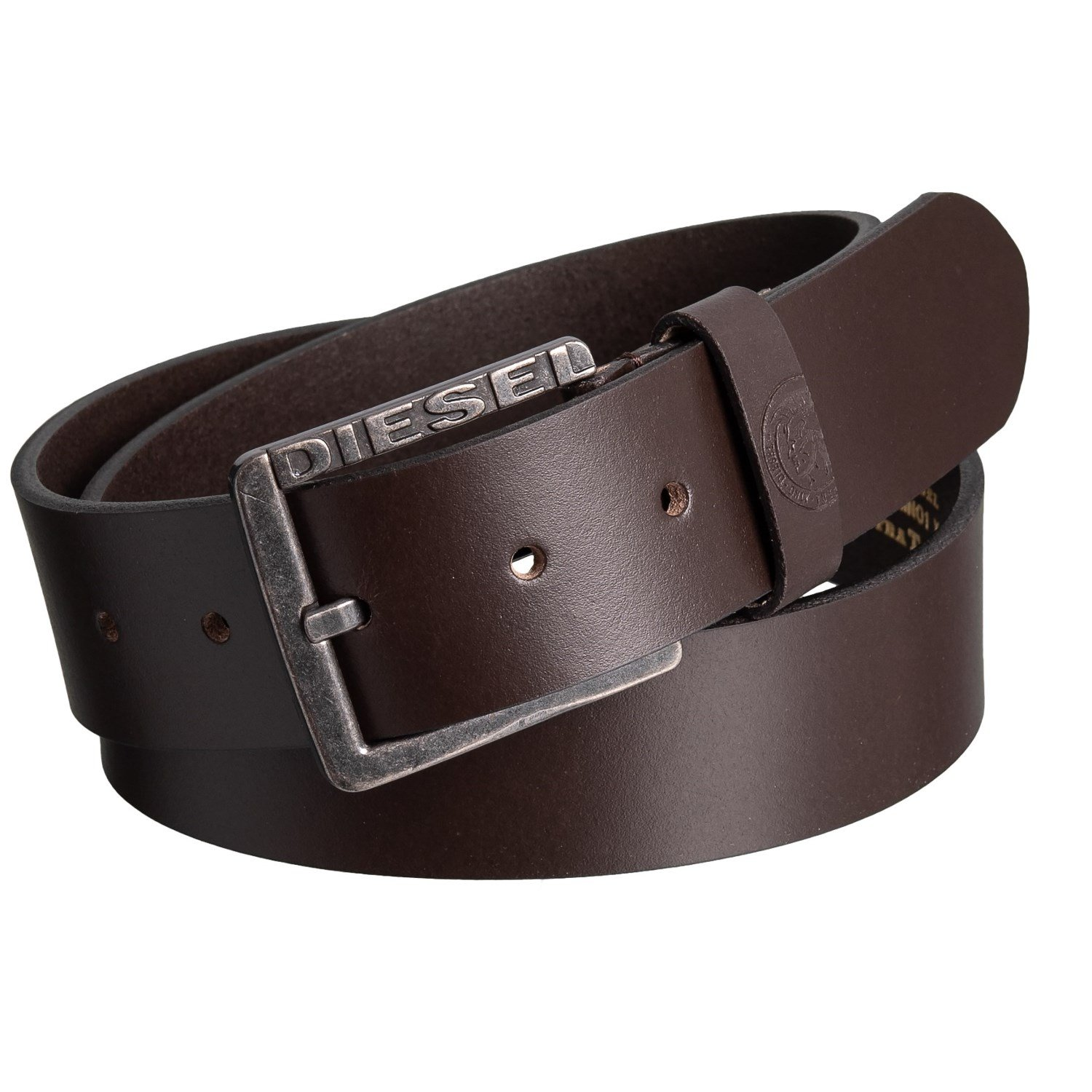 Diesel Men's Vintage Buffalo Leather Belt with Pewter Buckle Dark Brown Size 36