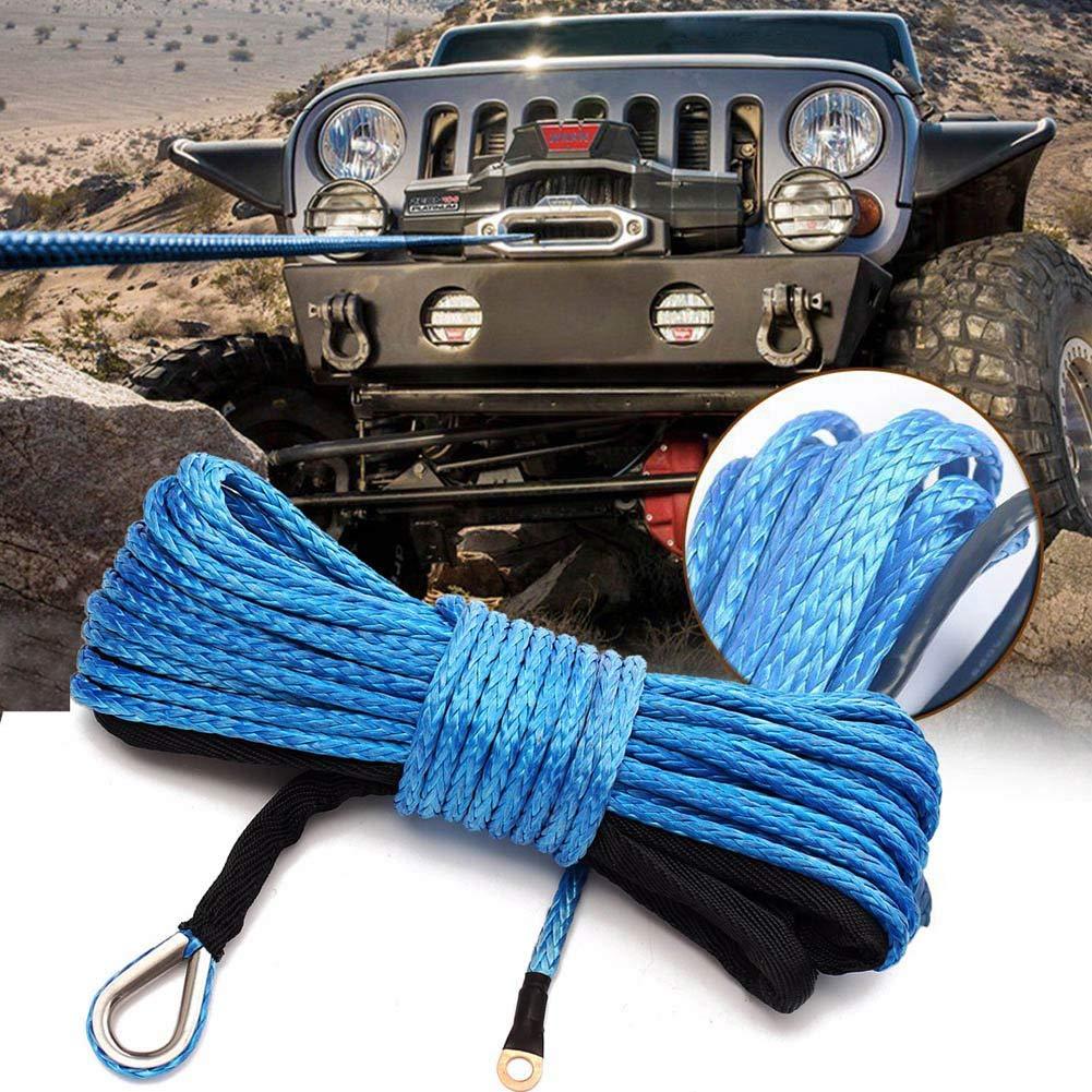 Remaxm 6 mm x 15 m Nylon Sintetico verricello Linea Cavo con Guaina Blu per ATV UTV