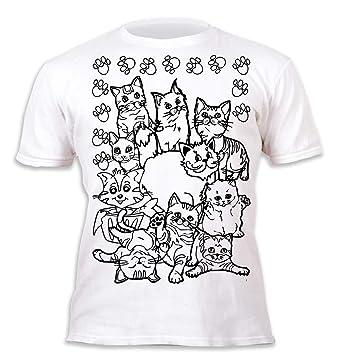 Splat Planet Camiseta Niños y Niñas Gatos. con impresión para ...