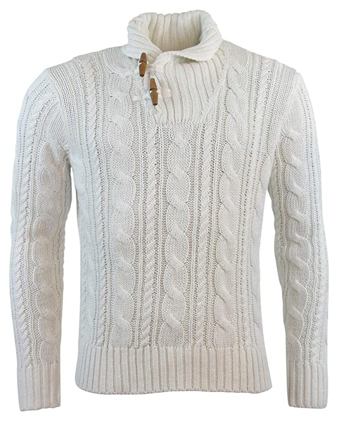 273016c7f7342 Polo Ralph Lauren Mens Cable Knit Shawl Toggle Sweater - M - White at  Amazon Men s Clothing store  Pullover Sweaters