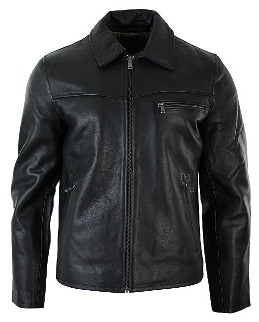 Xposed, giacca da uomo con cerniera, in vera pelle morbida