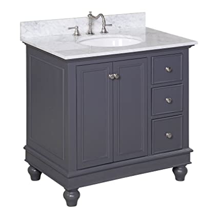 Kitchen Bath Collection KBC2236GYCARR Bella Bathroom Vanity with ...