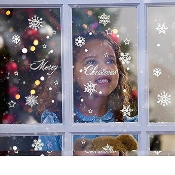 Saingace Weihnachtssticker,Weihnachtsaufkleber Schneeflockewand Dekoration  Ausgangs Wand Aufkleber Fenster