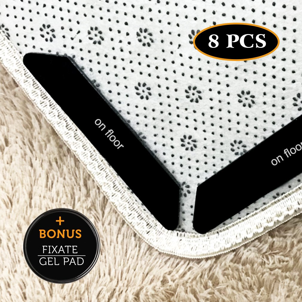 Rug Grippers –Best 8PCS Anti Curling Rug Gripper. Keeps Your Rug in Place & Makes Corners Flat. Premium Carpet Gripper with Renewable Gripper Tape – Ideal Anti Slip Rug Pad for Your Rugs Kakuu