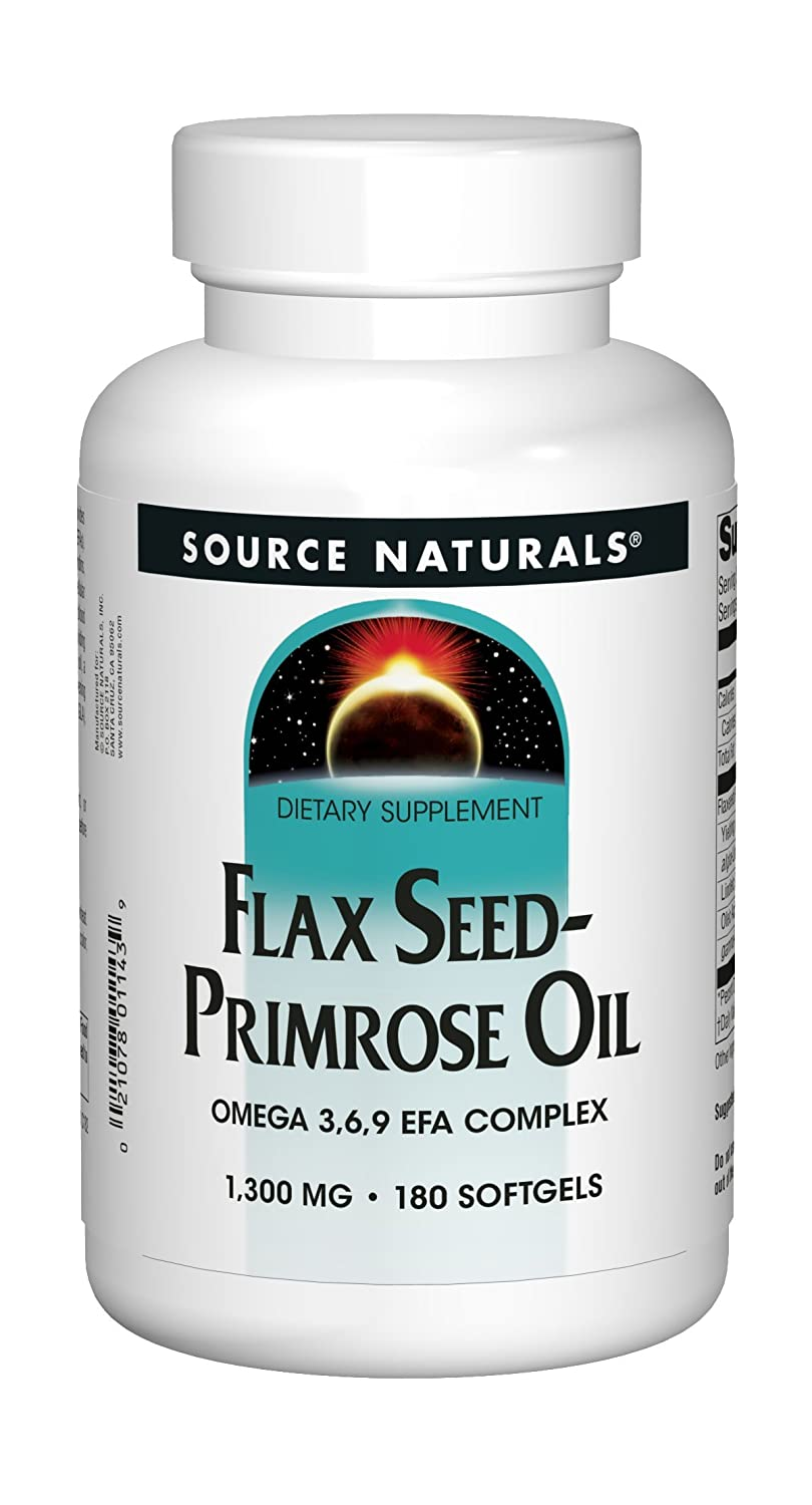 Source Naturals Flax Seed-Primrose Oil 1300 mg, Provides Nutritional Support During Women s Cycles, 180 Softgels