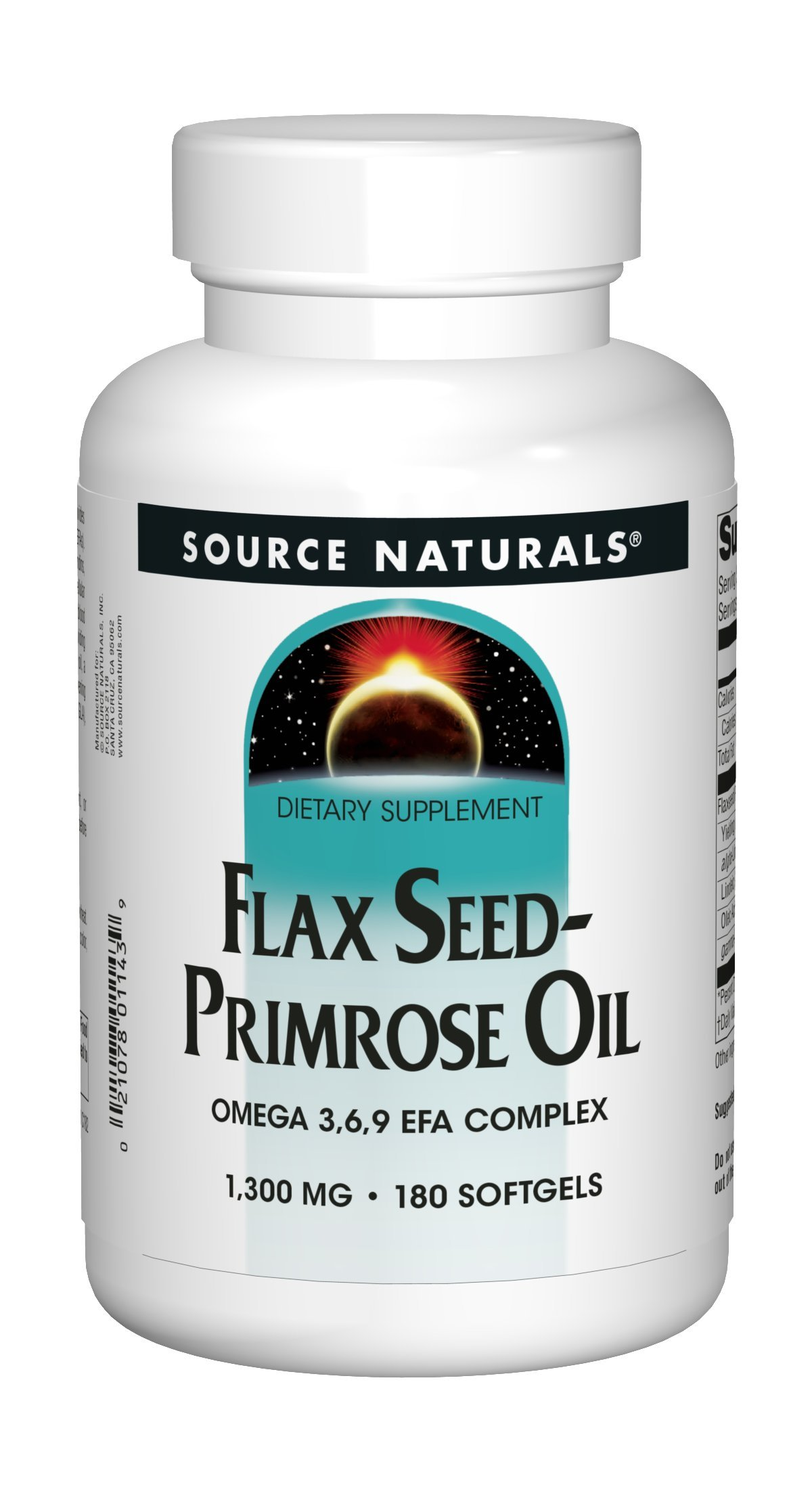 Source Naturals Flax Seed-Primrose Oil 1300 mg, Provides Nutritional Support During Women's Cycles, 180 Softgels