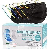 Mascarilla Negra 50 Piezas Made In Italy, Mascarillas Para Adultos Elásticos Colores, Mascarillas Tipo IIR Y…