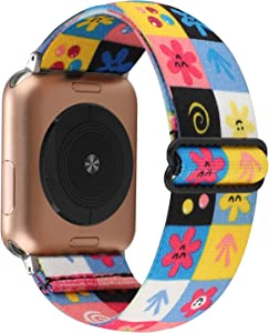 YOSWAN Stretchy Nylon Solo Loop Strap Compatible with Apple Watch Band 38/40mm Soft Breathable Adjustable Elastic Kids Wristband for iWatch SE Series 6 5 4 3 2 1 (Cute Flower Grid, 42mm / 44mm)