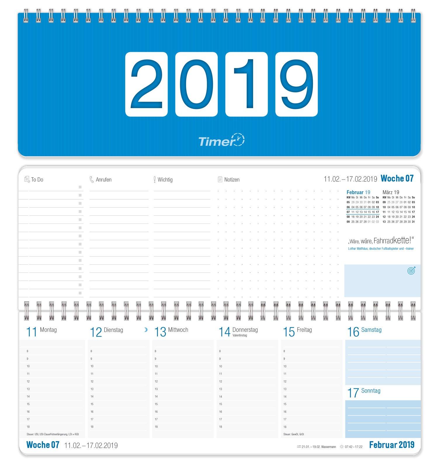 Wochen-Tischkalender 2019, Querkalender, 2-farbig, runde Ecken 29,7x10,5, 1 Woche 2 Seiten, Querterminbuch für Büro und Schreibtisch mit Zusatzinfos