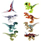 JZK 8 pcs set toy dinosaur blocks building figures minifigures for kids, movable head mouth hands feet, non-toxic child safe(normal colour)